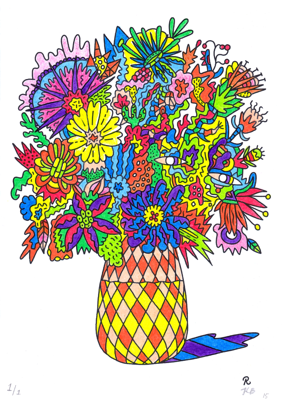 The coloring book for grown ups - The Artwork A Seduction Of Flowers Is A Digital Drawing Created For A Colouring Book And Exhibition Entitled Colouring Book For Grown Ups With A South