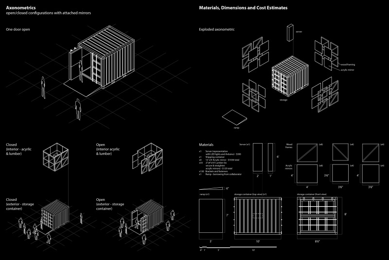 schematic drawings of the 10 x 85 x 5 shipping container and the intervention of mirrors