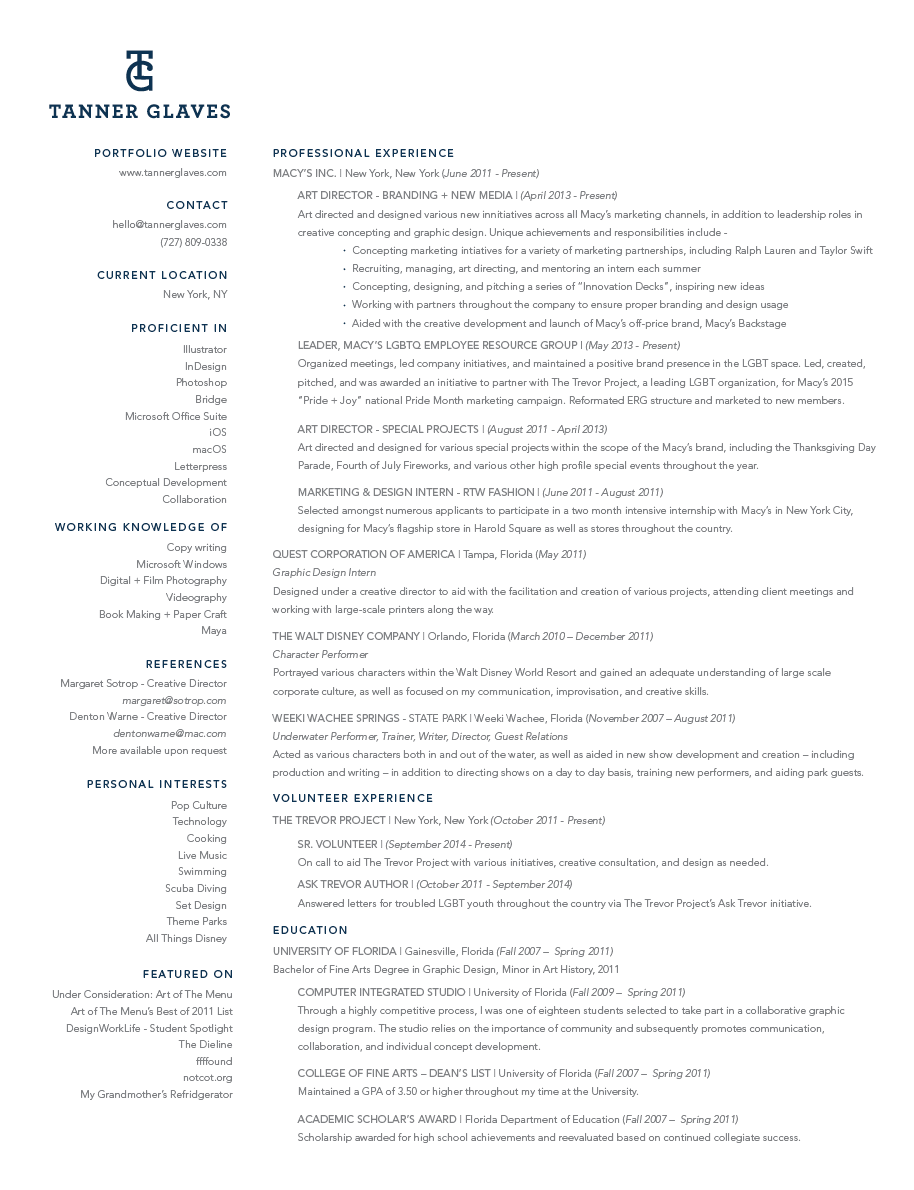 resume contact information tanner glaves